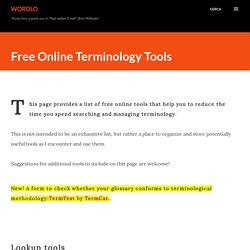 WordLo: Free Online Terminology Tools