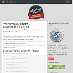 Wordpress & jQuery UI : L'accordéon d'article