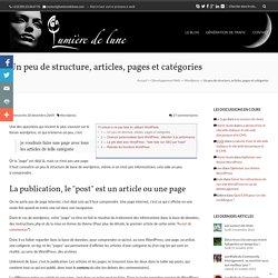 Wordpress, les articles, les pages et les catégories