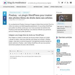 Pixabay : un plugin WordPress pour insérer des photos libres de droits dans ses articles - Blog du Modérateur