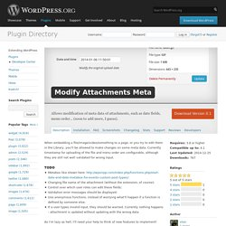 WordPress › Modify Attachments Meta « WordPress Plugins
