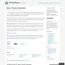 WordPress for iPhone › Beta Testers Needed