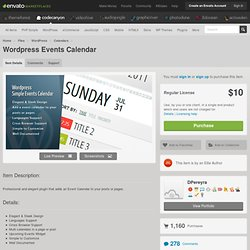 Plugins - Wordpress Events Calendar