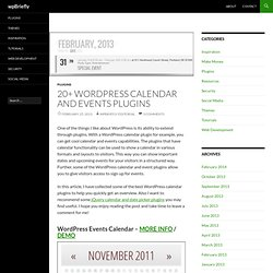 20+ Wordpress Calendar and Events Plugins - wpBriefly