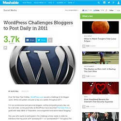 WordPress Challenges Bloggers to Post Daily in 2011