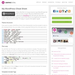 My Wordpress Cheat Sheet