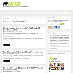 WordPress as CMS - WP Garage