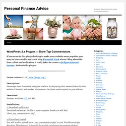 WordPress 2.x Plugins – Show Top Commentators Personal Finance Advice