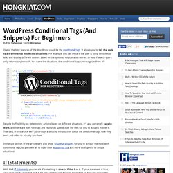 WordPress Conditional Tags (And Snippets) for Beginners