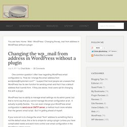 Changing the wp_mail from address in WordPress without a plugin