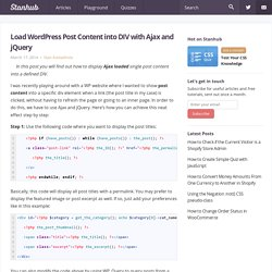 Load WordPress Post Content into DIV with Ajax and jQuery – Stanhub