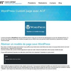 WordPress Custom page avec ACF - Fabien VEYRAT