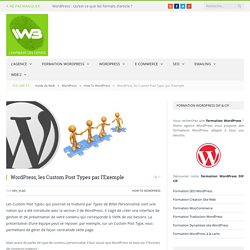 WordPress, les Custom Post Types par l'Exemple