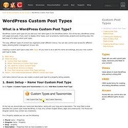 WordPress Custom Post Types using Types Plugin