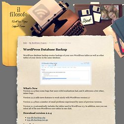 Il Filosofo » WordPress Database Backup