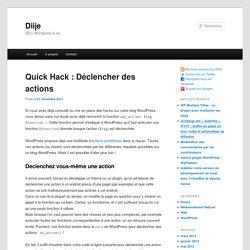 WordPress : déclencher des actions