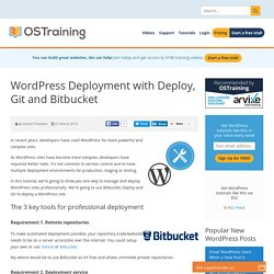 WordPress Deployment with Deploy, Git and Bitbucket