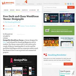 Free Dark and Clean WordPress Theme: Designpile - Smashing Magazine