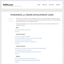 WordPress 3.0 Theme Development Links | WPLover