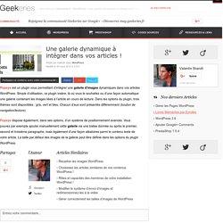 Une galerie dynamique à intégrer dans vos articles ! sur Geekeries.fr