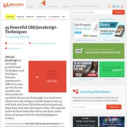 45 Powerful CSS/JavaScript-Techniques - Smashing Magazine