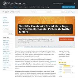 NextGEN Facebook - Social Meta Tags for Facebook, Google, Pinterest, Twitter & More