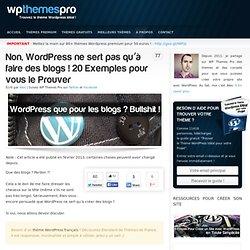 Non, WordPress ne sert pas qu'à faire des blogs, et je vous le prouve!
