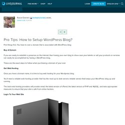 Pro Tips: How to Setup WordPress Blog?: fastwptutorials