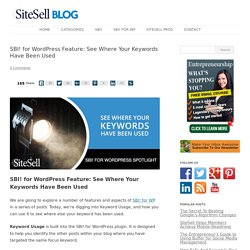 SBI! for WordPress Feature: See Where Your Keywords Have Been Used