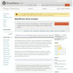 WordPress Form Creator