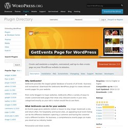 GetEvents Page for WordPress