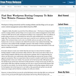 Top Wordpress Web Hosting Company