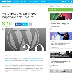 WordPress 3.0: The 5 Most Important New Features