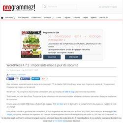 WordPress 4.7.2 : importante mise à jour de sécurité