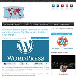 Facebook et Twitter dans Wordpress sans installer d'extension ?4 Coins du Monde