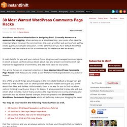 30 Most Wanted WordPress Comments Page Hacks