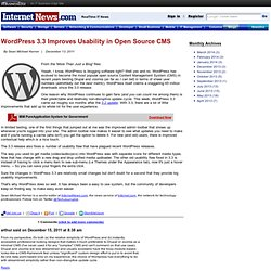 WordPress 3.3 Improves Usability in Open Source CMS