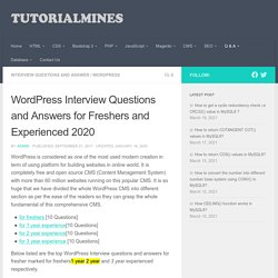 WordPress interview questions answers for Fresher