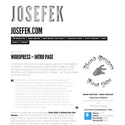 WordPress – Intro Page