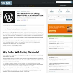 The WordPress Coding Standards: An Introduction