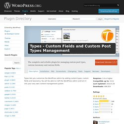 Types - Custom Fields and Custom Post Types Management