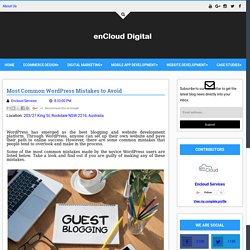 Most Common WordPress Mistakes to Avoid - Digital enCloud