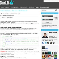 Wordpress : Créer un nouveau rôle pour vos utilisateurs