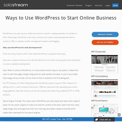 Ways to Use Wordpress to Start Online Business