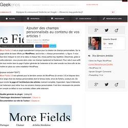 Ajouter des champs personnalisés au contenu de vos articles ! sur Geekeries.fr | Découvrir WordPress