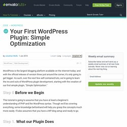Your First WordPress Plugin: Simple Optimization