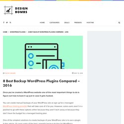 8 Best Backup WordPress Plugins Compared - 2016
