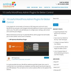 10 Useful Wordpress Admin Plugins for Better Control