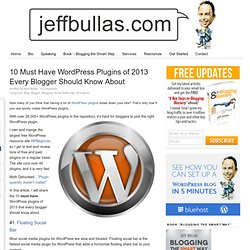 10 Must Have WordPress Plugins of 2013 Every Blogger Should Know About