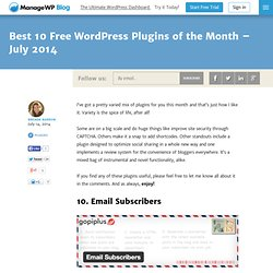 Best 10 Free WordPress Plugins of the Month – July 2014